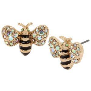 Betsey Johnson Bee Earrings Gold Tone & Black